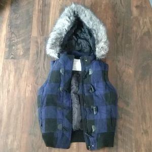 Plaid Vest with Fur
